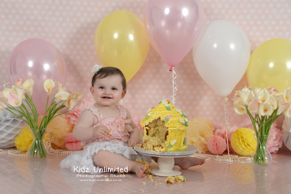 Cake Smash with Lillies by Thanet Cake Smash Photographer